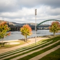 USA: West Virginia, Wheeling, Ohio River Basin, Riverfront on Ohio River