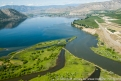 US: Washington, Columbia River Basin, aerial view of Brewster area at confluence Okanogan River and Columbia River