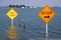 USA: Missouri, West Alton, road flooded in the Mississippi River flood of 1993