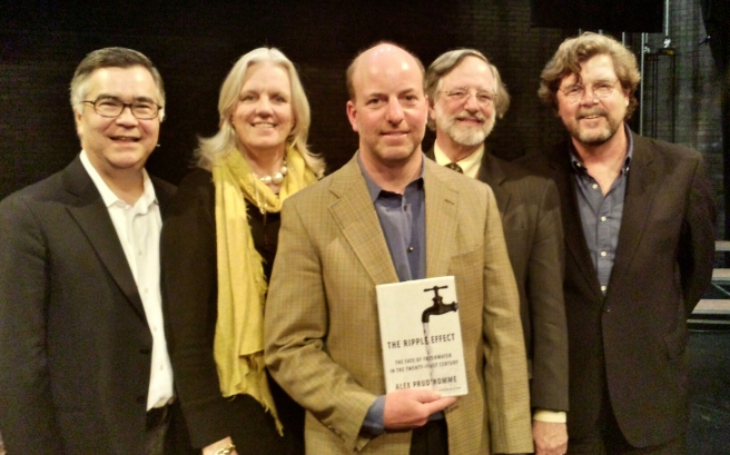 Water Symposium panelists L-R: Karl Weber, Alison Jones, Alex Prud'homme, Nicholas Robinson, John Cronin