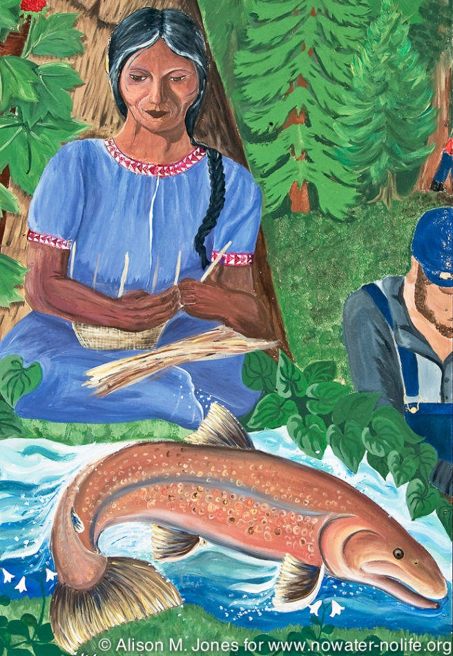 Canada:  British Columbia, Winlaw, Slocan River Valley, salmon mural