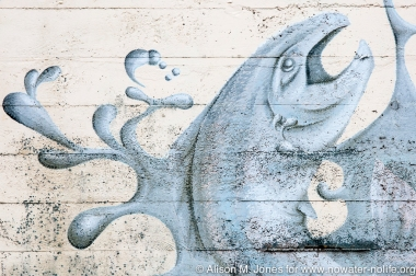 USA:  Washington, Columbia River Basin, Ilwaco mural of salmon