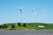 USA: California, Sherman Island, on north shore of Sacramento Delta, turbines of the Shilo Wind Power Plant in the Montezuma Hills