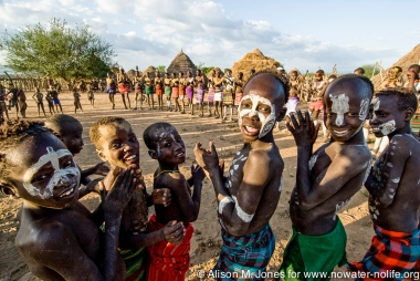 Ethiopia:  Lower Omo River Basin, Lebuk, a Karo village, dance ceremony