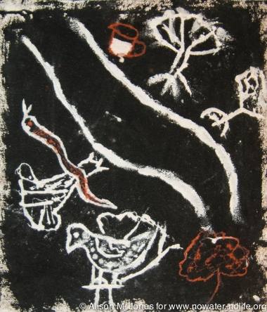 Ethiopia: Omo Valley, Karo painting, bird's eye view of Omo River, trees, snake, chicken, jug of water