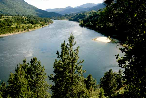 Columbia River seen from a trail near Castlegar, BC