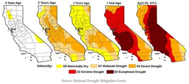 California 4-year drought map