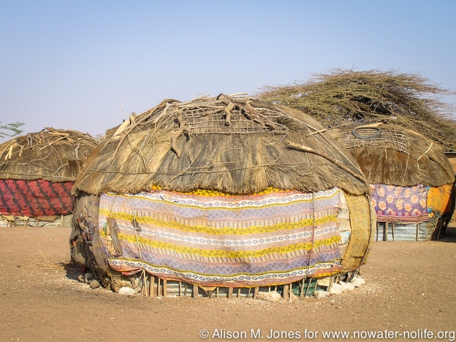 East Africa, Kenya, Northern Frontier District, Chalbi Desert, Kalacha village, local house wrapped in cloth to prevent wind and dust from coming in