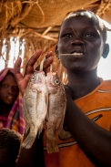 Africa: Kenya; North Rift District, Turkana Land, fishing village of Natarai on Ferguson's Gulf on Lake Turkana, Turkana boy carrying tilapia fish he has caught