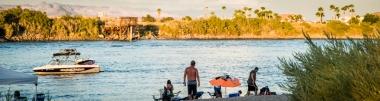 USA: Southern California, CA Drought Spotlight 3-Rte 66 Expedition, Needles, recreation on Colorado River