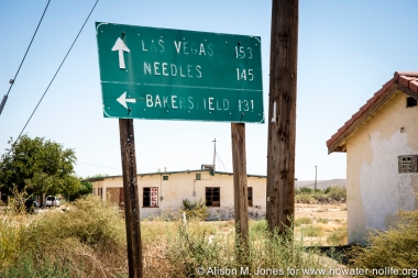 USA: Southern California, road sign on local 15 on north side of Mohave River
