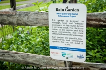 USA: New Jersey, Upper Raritan River Basin, Upper Raritan Watershed Association (URWA) BioBlitz on May 21, 2011, sign for rain garden