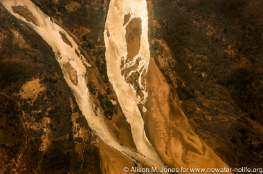 Zambia, confluence of tributaries of Zambezi River, aerial view