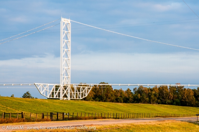 USA: Louisiana, Melville, Atchafalaya Basin, natural gas pipeline crossing the Atchafalaya River