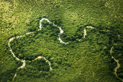 Ethiopia: aerial of Mago River, largest tributary of Lower Omo River
