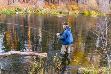 Fly-fisherman fishing in the Metolius River